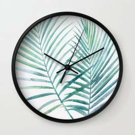 Twin Palm Fronds - Teal Wall Clock