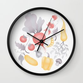 Vegetables (pastel) Wall Clock