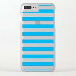 Horizontal Blue Stripes Clear iPhone Case