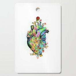Flowers colorful heart watercolor Cutting Board