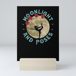 Moonlight and poses cool Yoga motive in moonlight with roses Mini Art Print