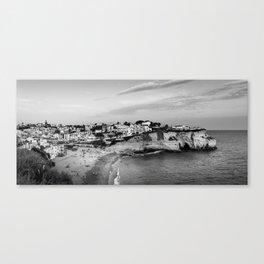 Carvoeiro town and beach in Lagoa, Algarve, Portugal. Black and White. Canvas Print