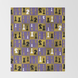 Violet Chessboard and Chess Pieces pattern Throw Blanket