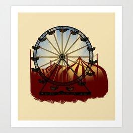 Old School Carnival Ferris Wheel Art Print