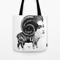 aries Tote Bags featuring Aries by Carolina Espinosa