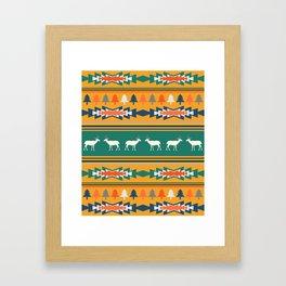Ethnic Christmas pattern with deer Framed Art Print