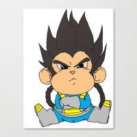 vegeta Canvas Prints featuring Monkey Vegeta by Kame Nico