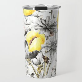 Poppies And Chicory Wildflower Bouquet Travel Mug