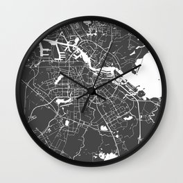 Amsterdam Gray on White Street Map Wall Clock