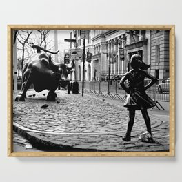 Fearless Girl and the Charging Bull Serving Tray
