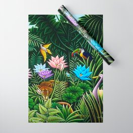 Classical Masterpiece 'Tropical Birds and Flying Things' by Henry Rousseau Wrapping Paper