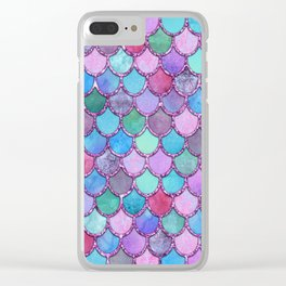 Colorful Pink Glitter Mermaid Scales Clear iPhone Case