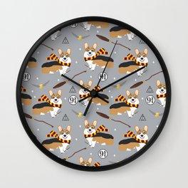 corgi wizard welsh corgis potter wizarding school pattern Wall Clock