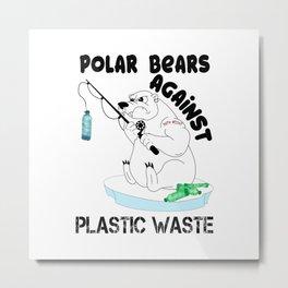 Polar Bear Plastic Waste Gift Metal Print