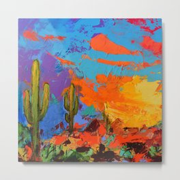 Saguaros Land Sunset Metal Print