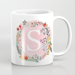 Flower Wreath with Personalized Monogram Initial Letter S on Pink Watercolor Paper Texture Artwork Coffee Mug
