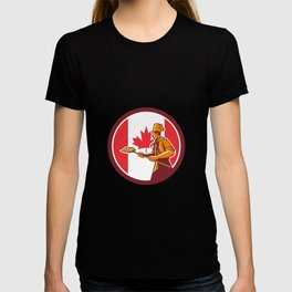 Canadian Pizza Baker Canada Flag Icon T-shirt