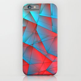 Bright fragments of crystals on irregularly shaped red and blue triangles. iPhone Case
