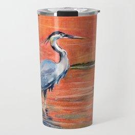 Great Blue Heron in Marsh Travel Mug
