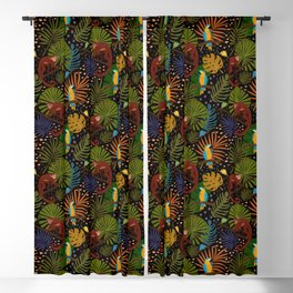 Jungle Pattern with Monkeys, Macaws and colorful Dart Frogs Blackout Curtain