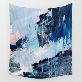 Vibes: an abstract mixed media piece in blues and pinks by Alyssa Hamilton Art Wall Tapestry