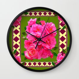 VIBRANT PINK ROSES ON MOSS GREEN PATTERN Wall Clock