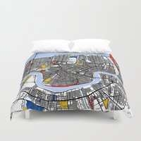 new orleans Duvet Covers featuring New Orleans by Mondrian Maps