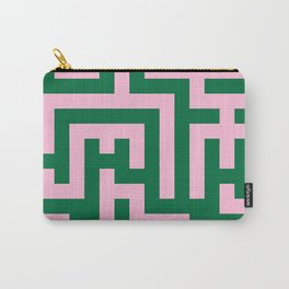 Cotton Candy Pink and Cadmium Green Labyrinth Carry-All Pouch