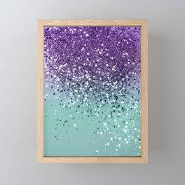Purple Teal Mermaid Ocean Glitter #1 (Faux Glitter) #shiny #decor #art #society6 Framed Mini Art Print
