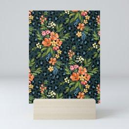 Apricot Maximalist Leopard Print Floral Mini Art Print