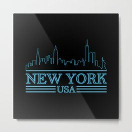New York Skyline USA NY City Silhouette Travel Metal Print