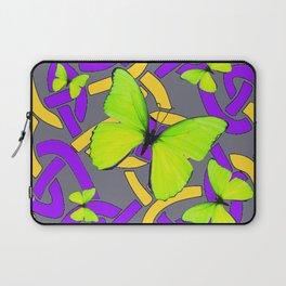 Lime Yellow Butterflies Purple-grey-gold Celtic Art Laptop Sleeve