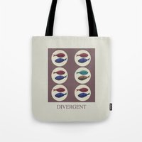 divergent Tote Bags featuring Divergent by Galen Valle
