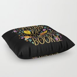 Folded Between the Pages of Books - Floral Black Floor Pillow