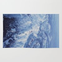 snowboard Area & Throw Rugs featuring Winter Mountain Range II by Leah Flores