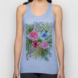 Watercolor Floral Bouquet No. 1 Unisex Tank Top