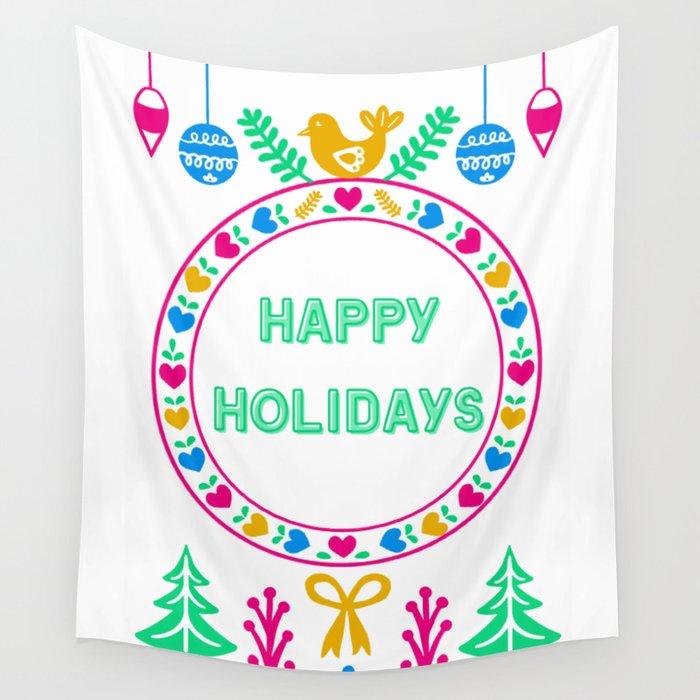 Bright Cheery Happy Holidays Wall Tapestry