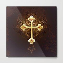 Golden Cross Metal Print