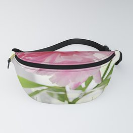 Pink peony in glass vase Fanny Pack