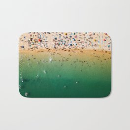 People Having Fun On Beach, Digital Download, Aerial Drone Photography, Printable Ocean Photography Bath Mat