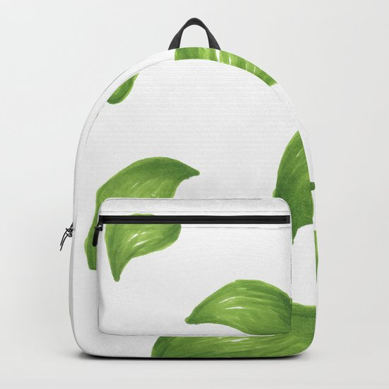 Bright green leaves pattern autumn fall summer Backpack