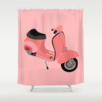 vespa Shower Curtains featuring Vespa by Fabian Bross