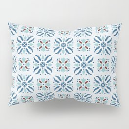 Portuguese tile in blue, aquamarine and brown Pillow Sham