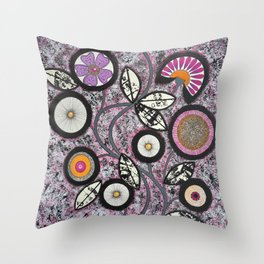Lovely Flowers Pink Throw Pillow