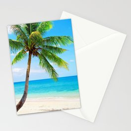 palm tree by the beach Stationery Cards