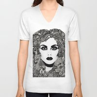 psych V-neck T-shirts featuring psych hair by Blak Hand