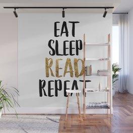 Eat Sleep Read Repeat Gold Wall Mural