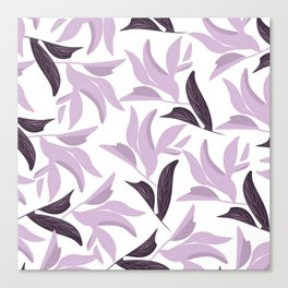 Abstract modern pastel lavender white leaves floral Canvas Print