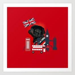 Proud London Pug Art Print