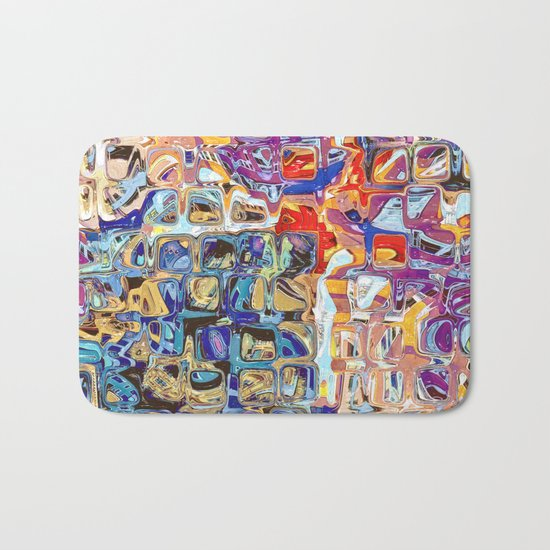 Abstract Glass Blocks Bath Mat